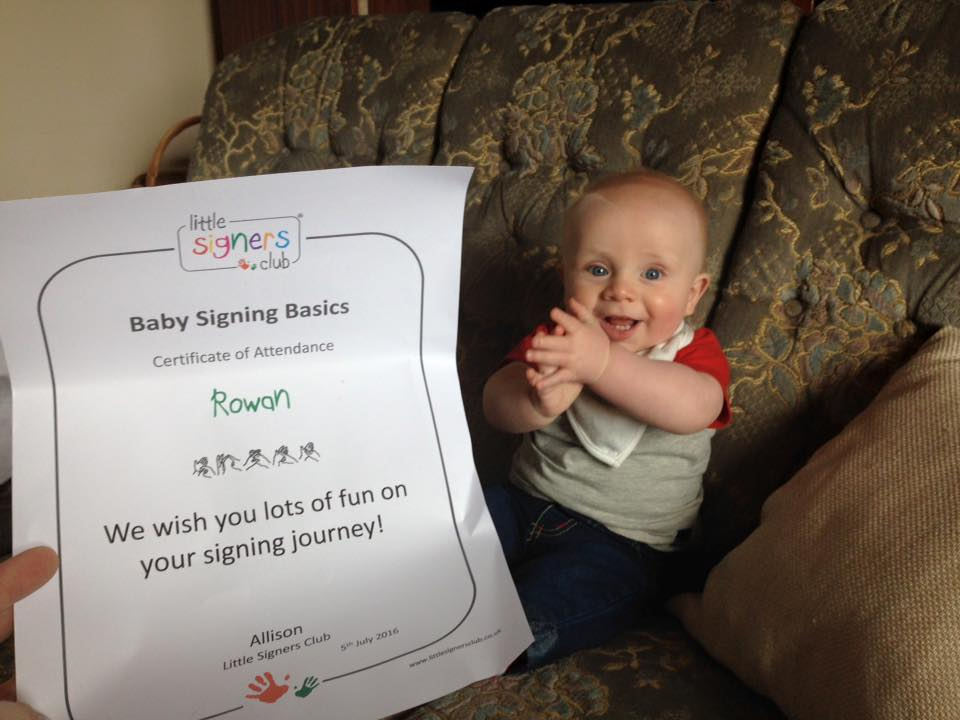 little signers club bsl babysigning coleraine londonderry allison learning to use little hands to communicate - one happy baby!